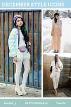 white accessories - light blue jacket - peach skirt