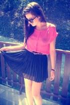 pink blouse - Alimonada bracelet - Zara belt - Zara skirt