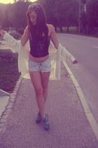 whitesilk vintage armani blouse - jeans Bershka shorts - blacklether H&M top
