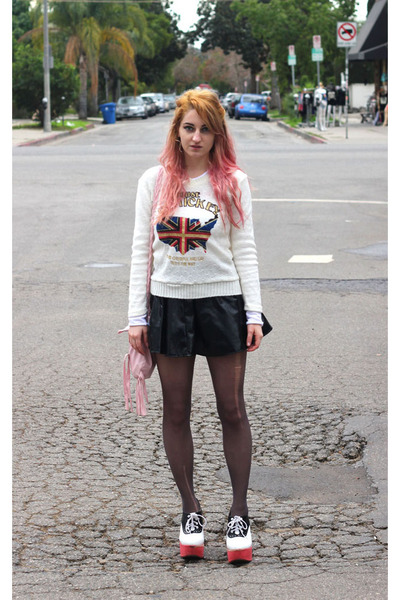 eggshell I dont know sweater - black vinyl I MADE IT skirt