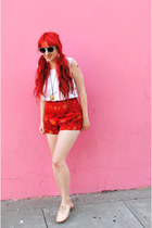 red chinese print thrifted vintage shorts - aquamarine Forever 21 glasses - whit