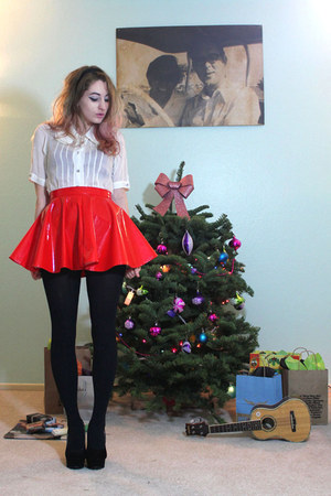 red vinyl I MADE IT skirt - white Urban Outfitters blouse - black H&amp;M stockings