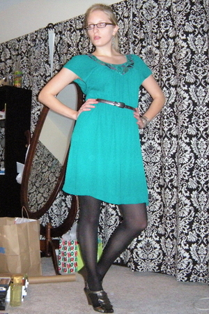 green H&M dress - black Target tights - silver Target shoes - silver calvin klei