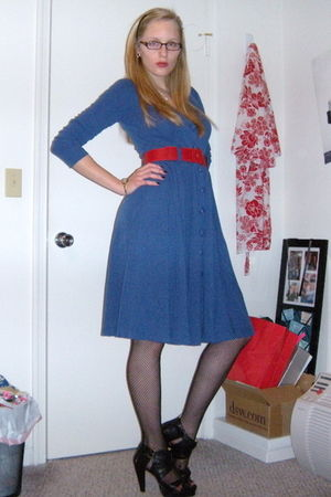 blue modcloth dress - black DSW shoes - red H&M belt - black Target accessories