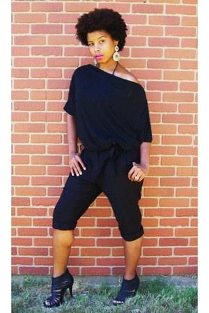 black romper - black sandals
