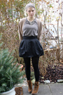 Brown-dosenbach-shoes-black-h-m-skirt-beige-uniqlo-cardigan-gray-american-