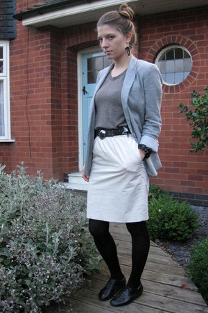 Topshop blazer - American Apparel t-shirt - H&M skirt - Zara belt - H&M shoes