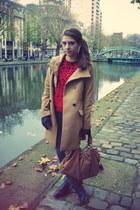 bronze Uniqlo coat - charcoal gray Cheap Monday jeans - ruby red Zara sweater -
