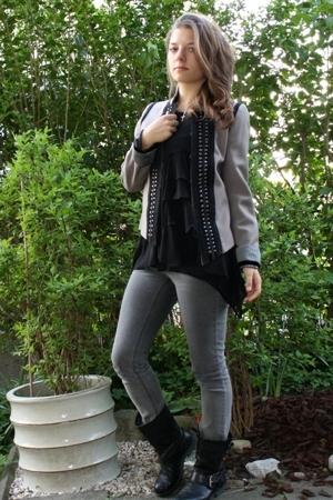 Zara blazer - Zara blouse - Cheap Monday jeans - vagabond boots