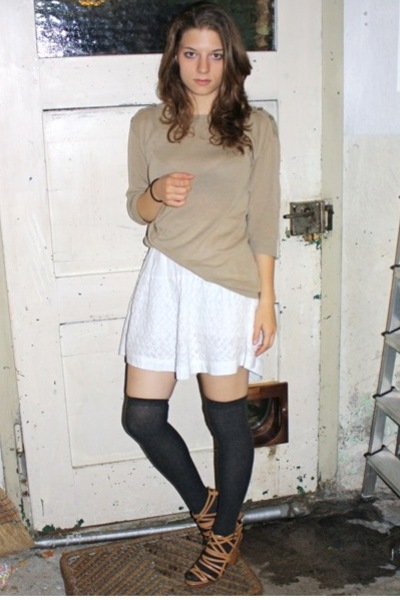 Uniqlo top - Topshop skirt - H&M socks - Zara shoes
