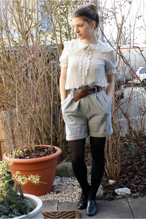gray Zara shorts - brown belt - H&amp;M blouse - Ebay necklace