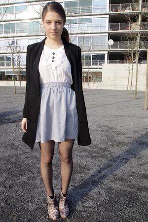 silver Mango skirt - white H&M blouse - black H&M Trend blazer - beige Zara shoe