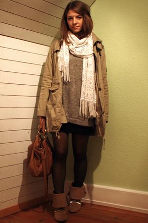 H&M skirt - sweater - Zara boots - ShopLushcom accessories - jacket