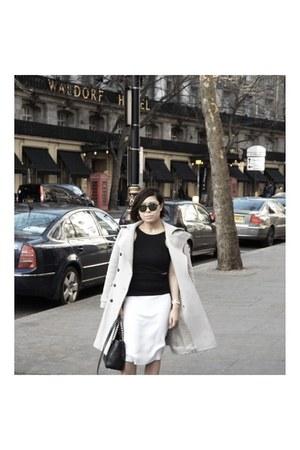 crop top Missguided top - wool karen millen coat - mirrored Gucci sunglasses