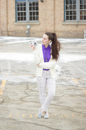 periwinkle floral H&M pants - bubble gum camera Instax accessories