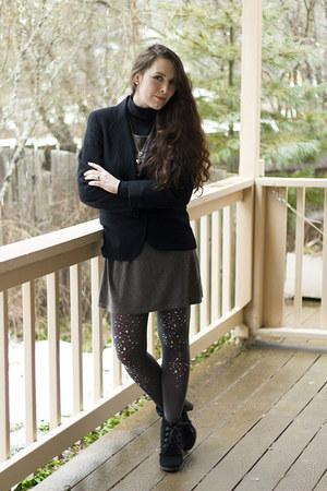 gray jewelled tights - charcoal gray Mango dress - black wool vintage jacket