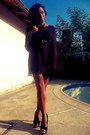 Magenta-thrift-store-dress-black-thrift-store-belt-black-reflections-pumps
