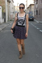 floral print Tally Weijl skirt - suede Bata boots - chanel Stradivarius bag