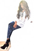 black cut-out Graceland boots - navy H&M leggings - white tunic asos top - state