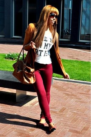 maroon Bershka jeans - tawny Bershka blazer - brown Primark bag