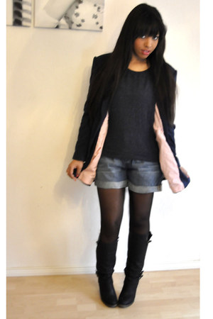 Zara boots - H&M sweater - Primark blazer - H&M shorts - Zara stockings