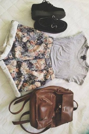 forest green shorts - dark gray shoes - bronze bag - off white t-shirt