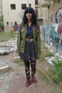 Army-green-unknown-brand-shirt-red-checkered-katalina-boots
