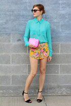 asos shorts - Zara bag - Forever 21 blouse