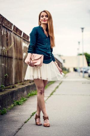 ivory tulle H&M dress - light pink chain Bulaggi purse