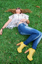 house of harlow blouse - Jeffrey Campbell boots - Levis jeans