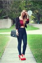 Hot Miami Styles jeans - Armani Exchange blazer - Chanel bag