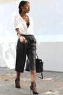 White-zara-shirt-black-leather-michael-kors-bag