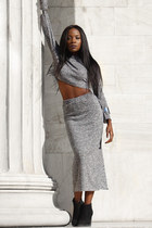 heather gray crop top Regalis Collection top