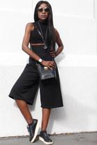 black MCM bag - black culottes mya collection pants