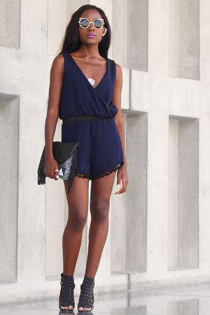 navy Ries by Malucha romper - dark gray Ries by Malucha bag - black Migato heels