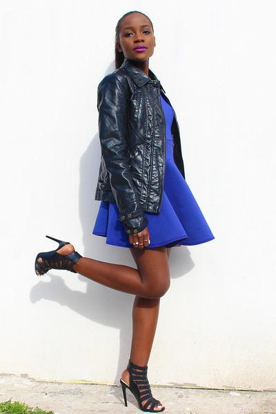b056b3523f black faux leather Bershka jacket - blue neoprene Nasty Gal dress.  periwinkle ...