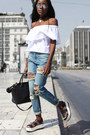 Light-blue-distressed-missguided-jeans-white-off-shoulder-bershka-top