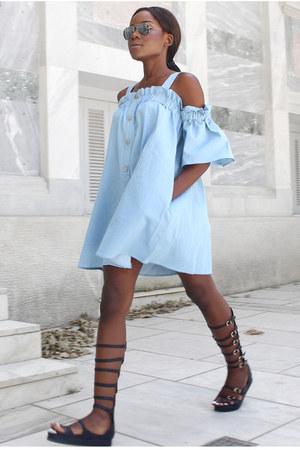 light blue Chicwish dress - black Migato flats