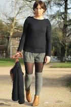 brown sessun boots - navy sessun sweater - charcoal gray Kiabi shorts