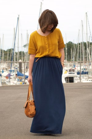 mustard H&M blouse - navy H&M skirt