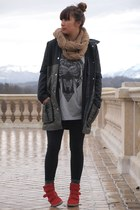 red sneakers - army green coat - black leggings - heather gray shirt