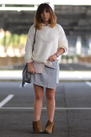 eggshell Pimkie sweater - brown andré boots - silver Pimkie skirt