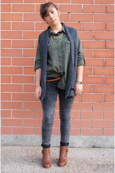 brown caroll boots - gray caroll jacket - heather gray Zara pants