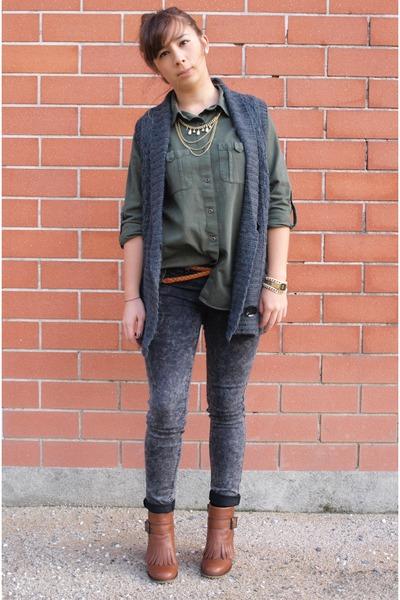 brown caroll boots - gray caroll jacket - heather gray Zara pants