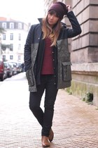 army green coat - burnt orange boots - black jeans - maroon top