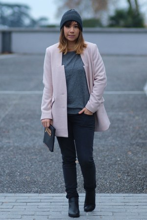 light pink Color block coat - black Bershka jeans - black asos bag