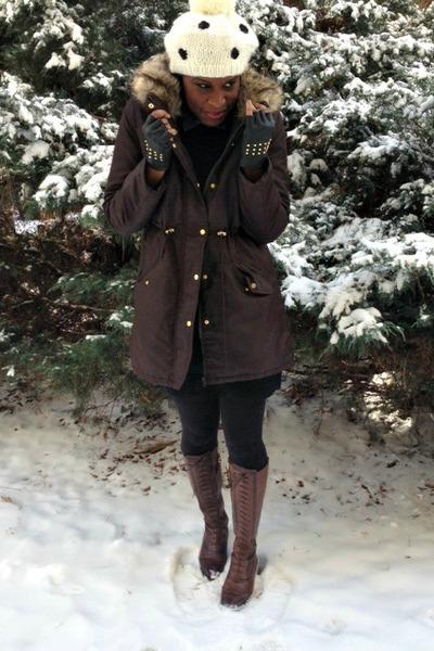 black sweater dress JCPenney dress - dark brown brogue boots Zara boots