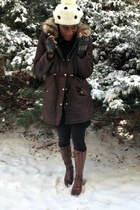 black sweater dress JCPenney dress - dark brown brogue boots Zara boots