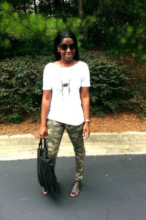 black bag - army green River Island pants - white low cut back Zara t-shirt