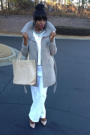 gray H&M coat - tan BCBG shoes - beige Chic Pantry bag